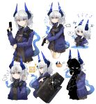 ... 1girl anger_vein angry annoyed arknights bandana black_neckwear black_shirt black_skirt blue_horns blue_jacket blue_tail brown_eyes chest_strap chibi closed_mouth commentary cowboy_shot cropped_legs dragon_horns dragon_tail electricity english_commentary eyebrows_visible_through_hair grey_hair gun hand_up highres holding holding_gun holding_shield holding_weapon holster horns jacket liskarm_(arknights) long_hair long_sleeves miniskirt multiple_views odmised open_clothes open_jacket open_mouth pleated_skirt ponytail potato profile riot_shield shaded_face shield shirt shoulder_holster simple_background skirt sound_effects sparkle speech_bubble tail upper_body weapon white_background