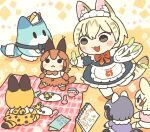 1girl :3 alternate_costume animal_ears apron black_dress blonde_hair bow bowtie caracal_(kemono_friends) cattail character_doll common_raccoon_(kemono_friends) dress enmaided extra_ears fennec_(kemono_friends) frilled_apron frilled_dress frills japari_symbol kemono_friends kemono_friends_3 kuro_shiro_(kuro96siro46) lucky_beast_(kemono_friends) maid maid_apron maid_headdress open_mouth picnic plant red_neckwear serval_(kemono_friends) serval_ears serval_girl serval_print serval_tail short_hair standing standing_on_one_leg tail translation_request tray white_apron white_legwear white_serval_(kemono_friends)