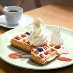 blueberry commentary_request cup food food_focus fruit highres kya4 no_humans original photorealistic plate saucer still_life sugar_(food) table tea waffle whipped_cream