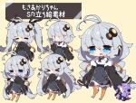 >_< 1girl :t antenna_hair bangs black_jacket blue_eyes blush braid breasts brown_background bunny_hair_ornament chibi closed_eyes closed_mouth collared_shirt commentary_request dress drooling eyebrows_visible_through_hair eyes_visible_through_hair fur-trimmed_jacket fur_trim grey_dress grey_hair hair_between_eyes hair_ornament headset highres jacket kizuna_akari large_breasts long_hair long_sleeves milkpanda mouth_drool multiple_views no_shoes open_clothes open_jacket open_mouth orange_legwear pout puffy_long_sleeves puffy_sleeves shirt short_eyebrows short_hair simple_background sleeves_past_fingers sleeves_past_wrists star_(symbol) striped striped_legwear thick_eyebrows thigh-highs thighhighs_pull translation_request twin_braids twintails vertical-striped_legwear vertical_stripes very_long_hair vocaloid voiceroid wavy_mouth white_shirt yuzuki_yukari |_|