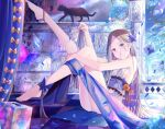 1girl abigail_williams_(fate) babydoll bangs bare_shoulders barefoot black_cat blonde_hair blue_eyes blush breasts bug butterfly butterfly_hair_ornament cat cube curtains fate/grand_order fate_(series) forehead hair_ornament insect kinom_(sculpturesky) legs legs_up long_hair looking_at_viewer parted_bangs sidelocks sitting small_breasts stuffed_animal stuffed_toy teddy_bear