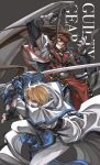 2boys belt blonde_hair blue_eyes brown_eyes brown_hair copyright_name dong_hole english_text fingerless_gloves gloves guilty_gear guilty_gear_xx headband highres holding holding_weapon huge_weapon ky_kiske long_hair male_focus multiple_belts multiple_boys order-sol ponytail short_hair sword weapon