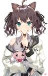 1girl absurdres ahoge animal_ears aqua_eyes black_choker black_ribbon blush brown_hair cat_ears choker closed_mouth collared_shirt commentary_request eyebrows_visible_through_hair eyelashes flat_chest grey_shirt hair_between_eyes hair_ribbon heart heart_choker highres holding holding_stuffed_toy hololive jacket kemonomimi_mode lace_trim lips long_sleeves looking_at_viewer medium_hair nail_polish natsuiro_matsuri off_shoulder official_alternate_costume pink_nails plaid ribbon shirt signature simple_background sleeveless sleeveless_shirt smile solo stuffed_animal stuffed_bunny stuffed_toy takenoko_no_you teardrop twintails two-sided_fabric two-sided_jacket upper_body v v_over_mouth virtual_youtuber watch watch wavy_hair white_background white_jacket wing_collar