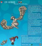1boy 1girl artist_name character_name character_profile colored_skin commentary english_commentary english_text gen_1_pokemon geodude hat hat_feather highres kinkymation monster_girl personification poke_ball poke_ball_(basic) pokemon purple_hair