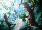 blurry commentary_request fence gen_2_pokemon gen_6_pokemon grass highres no_humans outdoors pokemon pokemon_(creature) rock sudowoodo tree trevenant yuro_(mangasukinoyuro)