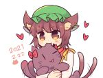 1girl ;3 ;d animal animal_ear_fluff animal_ears biting blush_stickers brown_eyes brown_hair cat cat_ears cat_tail chen dated dress ear_biting earrings gold_trim hat heart holding holding_animal holding_cat jewelry kaenbyou_rin kaenbyou_rin_(cat) mob_cap multiple_tails nakukoroni nekomata one_eye_closed open_mouth red_dress single_earring smile solo tail touhou two_tails v-shaped_eyebrows