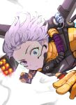 1girl absurdres apex_legends bodysuit cable falling firing gloves hair_behind_ear headset highres hitsujisnow holographic_interface jetpack looking_at_viewer mechanical_wings missile_pod orange_bodysuit orange_gloves science_fiction short_hair silver_hair smoke solo valkyrie_(apex_legends) violet_eyes white_background wings