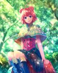 1girl ahoge animal_ears blurry boots bush capelet checkered checkered_skirt corset depth_of_field fantasy forest frilled_skirt frills highres knee_boots leaf light_particles light_rays looking_at_viewer nature original redhead sakimori_(hououbds) short_hair sitting sitting_on_tree_stump skirt sleeveless smile solo tree tree_stump wind