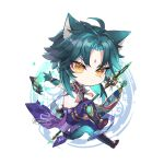 1boy absurdres ahoge animal_ears aqua_hair bead_necklace beads blue_gloves blue_hair cat_ears cat_tail chibi closed_mouth facial_mark forehead_mark genshin_impact gloves highres hisehisekin jewelry male_focus mask multicolored_hair necklace polearm signature simple_background solo spear tail tassel weapon xiao_(genshin_impact) yellow_eyes