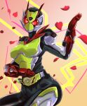 1girl absurdres antennae armor bodysuit breasts commentary_request cycloneactionx gloves helmet highres is_(kamen_rider_01) kamen_rider kamen_rider_01_(series) kamen_rider_zero-two large_breasts looking_at_viewer petals red_eyes red_gloves rider_belt rose_petals solo tokusatsu