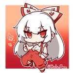 1girl bangs border bow chibi closed_mouth concha_(mamecha) eyebrows_visible_through_hair fire fujiwara_no_mokou full_body gradient gradient_background hair_bow hand_in_pocket highres long_hair looking_at_viewer multicolored_bow ofuda ofuda_on_clothes outline pants red_background red_eyes red_footwear red_pants solo suspenders torn_clothes torn_sleeves touhou twitter_username white_border white_hair white_outline