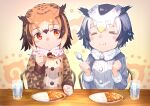 2girls :t bird_girl bird_wings black_hair blonde_hair blush brown_coat brown_hair chair clenched_hands closed_eyes closed_mouth coat commentary_request curry eating eurasian_eagle_owl_(kemono_friends) eyebrows_visible_through_hair food fur_collar fur_trim grey_hair hair_between_eyes head_wings kemono_friends long_sleeves matsuhisa_(ryo-tsuda1) multicolored_hair multiple_girls northern_white-faced_owl_(kemono_friends) orange_eyes owl_ears owl_girl short_hair table white_coat white_fur white_hair wings winter_clothes winter_coat