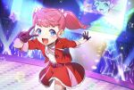 1girl :d audience bangs blunt_bangs blush bow bule_eyes commentary_request concert crowd dutch_angle foreshortening gloves glowstick hair_bow heart_belt highres idol jacket kiratto_pri_chan leg_up looking_at_viewer momoyama_hikari neck_ribbon open_mouth pink_bow pink_ribbon pose pretty_(series) purple_belt purple_gloves red_jacket red_skirt ribbon screen shirt skirt smile sparkle spotlight stage stage_lights star_(symbol) twintails v white_shirt yuzu_sato
