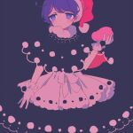 1girl bangs black_background blue_eyes blue_hair busujima_(kusahana) doremy_sweet dress gloves hat long_hair looking_to_the_side nightcap one-hour_drawing_challenge pom_pom_(clothes) short_hair simple_background solo tail touhou white_gloves