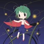 1girl antennae bangs black_cape blue_pants bug cape chibi closed_mouth cobalta dark_background eyebrows_visible_through_hair full_body grass green_hair herb light_particles long_sleeves looking_at_viewer pants red_footwear shirt short_hair simple_background socks solid_oval_eyes solo touhou white_legwear white_shirt wriggle_day wriggle_nightbug