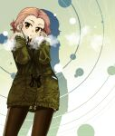 1girl black_legwear breath brown_eyes closed_mouth coat commentary fur-trimmed_sleeves fur_trim girls_und_panzer gloves green_background green_coat grey_gloves grey_shorts highres long_sleeves looking_at_viewer medium_hair pantyhose r-ex redhead rosehip_(girls_und_panzer) short_shorts shorts silhouette solo standing