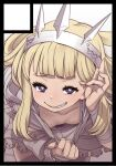 1girl bangs bent_over black_border blonde_hair blunt_bangs border breasts bright_pupils cagliostro_(granblue_fantasy) circle_cut clothes_pull downblouse fingernails granblue_fantasy grin hairband hand_up kosuke_orz long_hair looking_at_viewer shirt_pull simple_background small_breasts smile solo thigh-highs violet_eyes white_background white_pupils