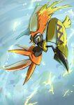 beak blue_eyes commentary_request electricity gen_7_pokemon highres legendary_pokemon looking_to_the_side no_humans outstretched_arms plume pokemon pokemon_(creature) solo tapu_koko yuro_(mangasukinoyuro)
