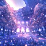 1girl album_cover backlighting cover dark dome dress fantasy fisheye flower grass hand_up highres lens_flare light light_particles light_rays long_hair original path sakimori_(hououbds) scenery shadow sky solo tree wind