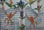 animal blue_flower climbing fabric flower gentiana_(flower) highres leaf light_bulb monkey no_humans original osumared photo_(medium) polka_dot reflection silhouette simple_background still_life traditional_media translucent white_background