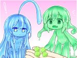 ! +_+ 1other 2girls :d ahoge blue_eyes blue_hair blue_sclera blue_skin candy closed_mouth colored_sclera colored_skin completely_nude curss fang fewer_digits food green_eyes green_hair green_sclera green_skin konpeitou medium_hair minigirl monster_girl multiple_girls nude open_mouth original skin_fang slime_girl smile tenori_(curss)