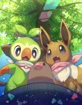 absurdres bright_pupils brown_eyes commentary_request day diglett eevee fang fangs from_below gen_1_pokemon gen_8_pokemon grey_eyes grookey highres no_humans nullma open_mouth outdoors pokemon pokemon_(creature) signature tongue tree white_pupils