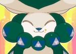 calyrex closed_eyes closed_mouth commentary_request food food_on_face gen_8_pokemon happy legendary_pokemon no_humans outline pokemon pokemon_(creature) shuu_(ssyuu721) smile solo sparkle upper_body