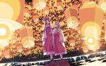 2girls bow brown_hair detached_sleeves eye_contact floral_print flower frilled_skirt frills full_body hair_bow hair_flower hair_ornament hair_tubes hakurei_reimu hieda_no_akyuu highres holding_hands japanese_clothes kimono lantern long_hair long_skirt long_sleeves looking_at_another miko multiple_girls necktie night night_sky paper_lantern purple_hair sakuraba_yuuki short_hair skirt sky sky_lantern smile touhou walking yuri