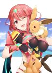 bangs black_gloves breasts chest_jewel crossover daive earrings eevee fingerless_gloves gen_1_pokemon gen_5_pokemon gloves highres jewelry large_breasts pokemon pyra_(xenoblade) red_eyes red_shorts redhead short_hair short_shorts shorts swept_bangs tepig tiara xenoblade_chronicles_(series) xenoblade_chronicles_2