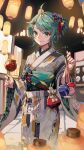 1girl absurdres bishounen blurry blush bow candy_apple closed_mouth depth_of_field eyebrows_visible_through_hair festival floral_print food food_stand ginyasama green_eyes green_hair hair_bow hair_ornament highres holding holding_food japanese_clothes kimono lantern looking_at_viewer mask night original paper_lantern short_hair smile solo standing summer_festival tagme wide_sleeves yukata