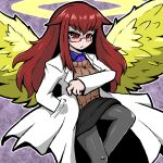 1girl angel angel_wings bangs black_legwear breasts closed_mouth collared_shirt commentary_request eyebrows_visible_through_hair feathered_wings halo hand_in_pocket kebiici labcoat long_hair miniskirt mon-musu_quest! pantyhose promestein red_eyes redhead shirt sidelocks simple_background skirt solo sweater wings