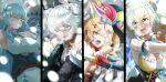 4girls absurdres ahoge animal_ears between_fingers blizzard blood breasts daifuku_(yukihana_lamy) flower glowing glowing_eyes gun hair_flower hair_ornament hat highres hololive ice jester_cap knife large_breasts long_hair momosuzu_nene multiple_girls nekko_(momosuzu_nene) omaru_polka on_shoulder senbon_tsuki shishiro_botan snot snow ssrb weapon yukihana_lamy
