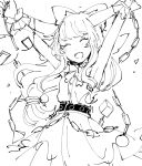 1girl \o/ arms_up bangs belt blush bow chain closed_eyes commentary_request dress fangs gourd greyscale hair_bow happy horns ibuki_suika long_hair monochrome mozukuzu_(manukedori) open_mouth outstretched_arms simple_background sleeveless sleeveless_dress smile solo touhou upper_body white_background wrist_cuffs