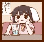 1girl bangs black_eyes black_hair carrot_necklace cup drinking drinking_glass drinking_straw eyebrows_visible_through_hair floppy_ears ice ice_cube inaba_tewi one-hour_drawing_challenge poronegi short_hair short_sleeves sitting solo table touhou upper_body