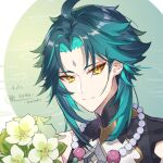 1boy absurdres ahoge aqua_hair bead_necklace beads blue_hair closed_mouth dated facial_mark flower forehead_mark genshin_impact highres hisehisekin jewelry looking_at_viewer male_focus necklace signature simple_background solo upper_body white_flower xiao_(genshin_impact) yellow_eyes