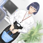 1girl bangs black_hair blunt_bangs blurry blurry_background collared_shirt computer dutch_angle highres hiramedousa lanyard leaf long_sleeves office_lady original plant potted_plant shirt shirt_tucked_in short_hair solo white_shirt