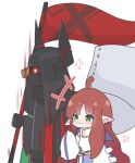 +++ 1girl 1other :3 ahoge ambiguous_gender arknights black_coat blue_skirt chibi coat commentary demon_horns ear_piercing english_commentary flag glowing glowing_eyes green_eyes holding holding_flag hood horns kurotofu long_hair myrtle_(arknights) oversized_clothes piercing pointy_ears redhead sarkaz_sentinel_(arknights) scarf shirt simple_background skirt sleeves_past_wrists upper_body very_long_hair white_background white_scarf white_shirt