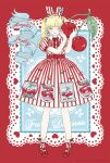 1girl ad angelic_pretty animal_ears artist_request bad_source bangs belt blonde_hair blunt_bangs bow bowtie cherry cherry_print collared_dress copyright_name dress earrings fashion food food_print frills fruit full_body graphic_dress grey_eyes hair_ribbon heart heart_earrings highres holding holding_food holding_fruit jewelry kira_imai lace lace-trimmed_legwear lace_trim light_blue_eyes lolita_fashion mary_janes oversized_object pale_skin patterned_clothing petite postcard print_dress rabbit_ears real_life red_background red_bow ribbon shoes socks solo striped striped_dress twintails
