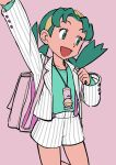 1girl alternate_costume arm_up backpack bag buttons elizabeth_(tomas21) green_eyes green_hair green_shirt happy highres kris_(pokemon) legs pink_background pokegear pokemon pokemon_(game) pokemon_gsc shirt shorts smile striped striped_shirt striped_shorts twintails white_shirt