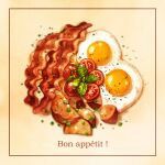 blurry brown_background cyannism egg food food_focus french_text leaf meat no_humans original realistic simple_background sparkle spring_onion still_life sunny_side_up_egg tomato tomato_slice translation_request vegetable
