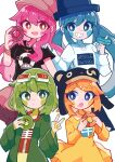 4girls absurdres animal_ears artist_name bangs beanie black_shirt blonde_hair blue_eyes blue_hair blue_headwear blush_stickers bone_print bracelet brown_headwear cabbie_hat circle clenched_teeth closed_mouth collared_dress colorful donut_hole_(vocaloid) doughnut dress expressionless eyebrows_visible_through_hair eyelashes facing_viewer fake_animal_ears flat_chest food food_on_face goggles goggles_on_head green_eyes green_hair green_jacket grin gumi hair_between_eyes hair_ornament hairclip hand_on_another's_shoulder hand_up hands_up happy hat hatsune_miku highres holding holding_food index_finger_raised jacket jewelry kagamine_rin long_hair long_sleeves looking_at_another looking_at_viewer looking_to_the_side megurine_luka multiple_girls necklace open_mouth orange_eyes pink_hair pitanto shiny shiny_hair shirt short_dress short_hair side-by-side simple_background smile teeth thick_eyebrows top_hat twintails upper_body v vocaloid wavy_hair white_background white_dress wide_sleeves yellow_shirt