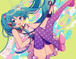 1girl abstract_background ass bangs bare_arms bare_shoulders black_wrist_cuffs commentary_request corded_phone edward-el english_text frilled_skirt frills full_body green_background green_eyes green_hair hatsune_miku highres long_hair looking_at_viewer open_mouth patterned_clothing phone pink_footwear polka_dot polka_dot_legwear purple_legwear shirt shoes sidelocks skirt smile solo spaghetti_strap thigh-highs twintails vocaloid white_shirt white_skirt wrist_cuffs