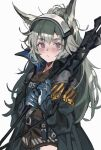 1girl :< animal_ears aogisa arknights armband blue_gloves gloves grani_(arknights) grey_hair highres hip_vent holding holding_weapon horse_ears jacket long_hair looking_at_viewer simple_background solo upper_body violet_eyes visor_cap weapon white_background