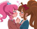 2girls =3 after_kiss ahoge aqua_jacket blazer blue_bow blue_eyes blush bow bowtie braid breath brown_hair brown_jacket collarbone collared_shirt commentary_request crown_braid diamond-shaped_pupils diamond_(shape) eye_contact eyebrows_visible_through_hair face-to-face from_side hair_bow half-closed_eyes heart heavy_breathing high_ponytail holding_hands jacket kiratto_pri_chan long_bangs long_hair long_sleeves looking_at_another momoyama_mirai multiple_girls nijinosaki_dia nose_blush open_mouth pink_bow pink_hair pretty_(series) red_bow red_shirt saliva saliva_trail school_uniform shiny shiny_hair shiny_skin shirt sidelocks simple_background steam sweat symbol-shaped_pupils tongue tongue_out twintails umi_no_tarako upper_body violet_eyes white_background white_shirt yuri