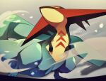 blurry claws closed_mouth commentary_request dragapult film_grain from_below gen_8_pokemon half-closed_eyes highres jacknaiff no_humans pokemon pokemon_(creature) smoke solo twitter_username