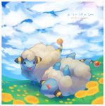 :d border closed_eyes clouds commentary_request day flower gen_2_pokemon grass highres kikuyoshi_(tracco) lying mareep no_humans on_back open_mouth outdoors pokemon pokemon_(creature) sheep signature sky smile tongue white_border