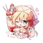 1girl ;d artist_name bangs blonde_hair blue_eyes blush bow capelet chibi commentary dress eyebrows_visible_through_hair fairy_wings food fruit full_body hair_between_eyes hair_bow heart highres ice_cream lily_white long_hair long_sleeves looking_at_viewer one_eye_closed open_mouth parfait pudding_(skymint_028) red_bow signature simple_background sitting smile solo strawberry touhou very_long_hair white_background white_capelet white_dress white_headwear wings