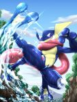 bright_pupils clouds commentary_request day from_below gen_6_pokemon greninja highres ninja-fiction no_humans outdoors pokemon pokemon_(creature) shiny sky solo sparkle tongue_scarf violet_eyes water water_drop wet white_pupils