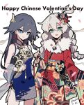 2girls alternate_costume antenna_hair blue_eyes braid brush china_dress chinese_clothes closed_mouth dress fu_hua_(valkyrie_accipter) highres honkai_(series) honkai_impact_3rd ink japanese_clothes kiana_kaslana kimono long_hair looking_at_viewer meadow_(morphinecaca) multiple_girls open_mouth smile twin_braids white_hair