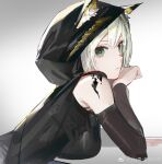 1girl animal_ears arknights bangs bare_shoulders black_jacket breasts chinese_commentary closed_mouth commentary_request elbow_rest green_eyes hair_between_eyes highres hood hood_up jacket kal'tsit_(arknights) leiq_lei-shi_xian_gao_zha light_green_hair long_hair looking_at_viewer looking_to_the_side lynx_ears medium_breasts oripathy_lesion_(arknights) sidelocks solo upper_body weibo_username white_background